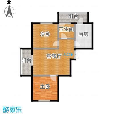 金域蓝城78.08㎡一期高层两居户型2室1厅1卫1厨