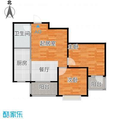 盛世家园80.00㎡1号楼B1户型2室2厅1卫