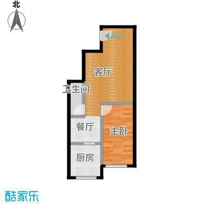 亿隆富贵名苑46.34㎡户型1室1厅1卫1厨