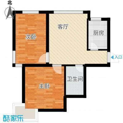西堤国际78.56㎡户型2室1厅1卫1厨