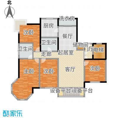 夏威夷水岸1号D1公寓户型4室2卫1厨