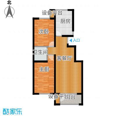 蓝山世家96.88㎡1-D二室一号楼三单元户型2室2厅1卫