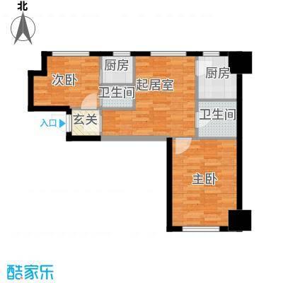 中安美寓71.45㎡小高层E3户型2室1厅1卫