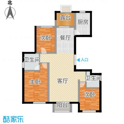 孔雀海110.53㎡2/4/5/6号楼偶数层B1端户型3室2厅2卫