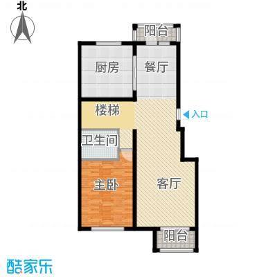 中海国际社区92.00㎡跃层E一层户型1室1厅1卫1厨