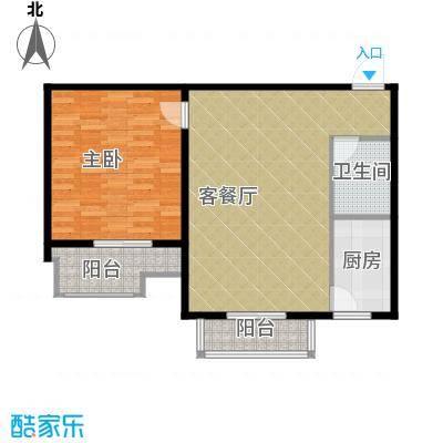 盛世家园80.00㎡6号楼F户型1室2厅1卫
