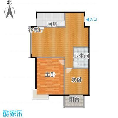 西堤国际89.92㎡B5户型2室1厅1卫1厨