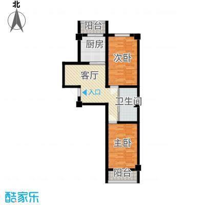 天伦中央广场87.77㎡H户型2室1厅1卫