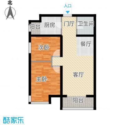 中兴和园89.00㎡7#2单元-02-B14反二室户型2室1厅1卫1厨