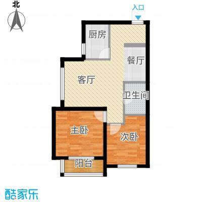 西堤国际82.00㎡B2户型2室1厅1卫1厨