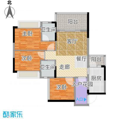 雅庭国际广场87.04㎡2座住宅8-25层02单元户型3室2卫1厨