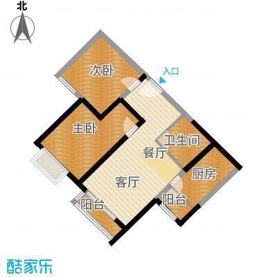 欧逸水岸89.26㎡图为D-C户型2室1厅1卫1厨