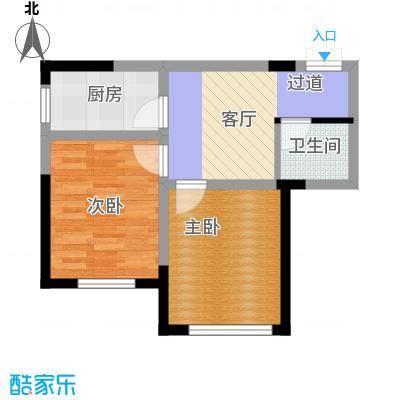 万晟金地公馆47.43㎡B3户型2室1厅1卫