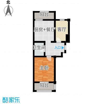 天伦中央广场83.86㎡F户型2室1厅1卫