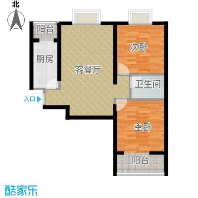 中兴和园89.00㎡5#2单元-04-B5反二室户型2室1厅1卫1厨