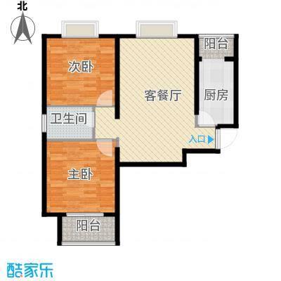 中兴和园89.00㎡7#2单元-01-B13反二室户型2室1厅1卫1厨