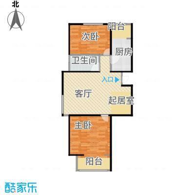 中兴和园91.00㎡3#1单元-01-B3二室户型2室1厅1卫1厨