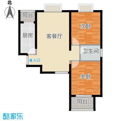 中兴和园89.00㎡5#3单元-04-B13二室户型2室1厅1卫1厨