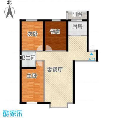 自由花园118.86㎡5号楼b户型3室1厅1卫1厨