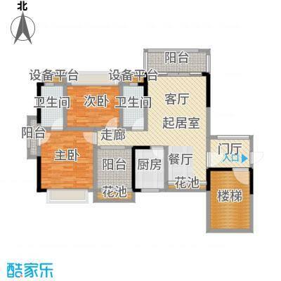 兆阳御花园90.12㎡1座 A户型(03)户型3室2厅2卫