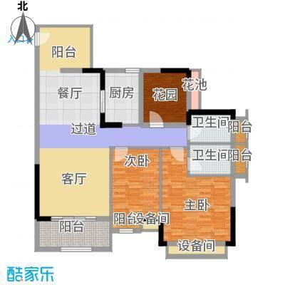 兆阳御花园92.11㎡7座E(05)单位户型3室2厅2卫