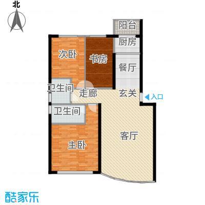 金碧阁123.22㎡户型3室1厅2卫1厨