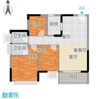 兆阳御花园92.11㎡7座F(06)单位户型3室1厅2卫1厨