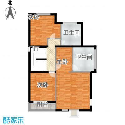 国信美邑105.89㎡C-3二层平面示意图户型3室1厅2卫