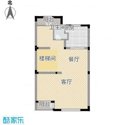 国信美邑92.73㎡B-2一层平面示意图户型1室1厅1卫