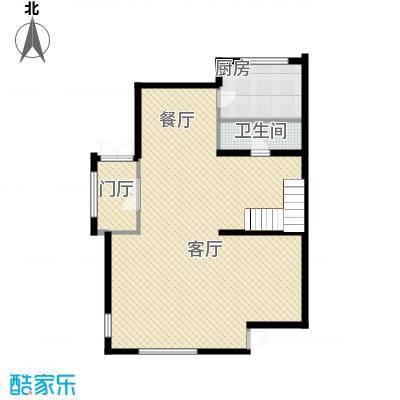 国信美邑76.00㎡A-2一层平面示意图户型1室1厅1卫