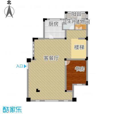 国信美邑123.44㎡D-2一层平面示意图户型1室1厅1卫