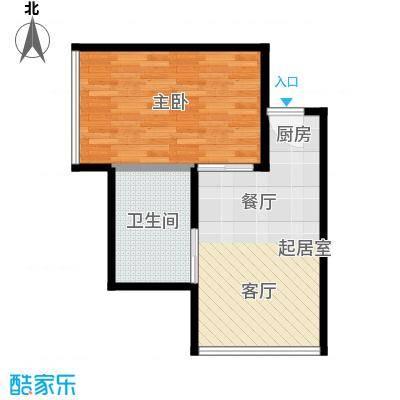 西子中心46.00㎡房型户型1室1卫
