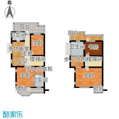 华瀚净月公馆联排B1二层和三层户型4室3卫