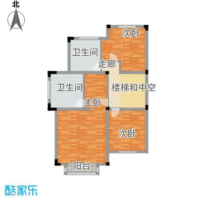 国信美邑104.49㎡D-3二层平面示意图户型3室1厅2卫