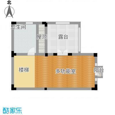 国信美邑57.18㎡C-4三层平面示意图户型1室1厅1卫