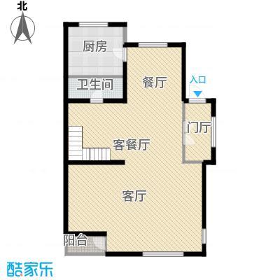 国信美邑106.04㎡C-2一层平面示意图户型1室1厅1卫