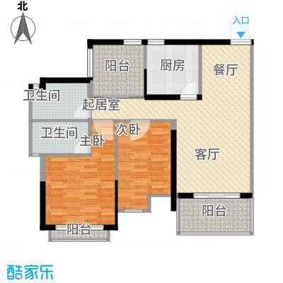 兆阳御花园91.83㎡5座02单位户型3室2厅2卫
