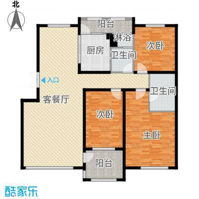 华业玫瑰谷别墅144.00㎡洋房户型4室2厅2卫
