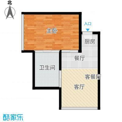 西子中心46.00㎡房型户型1室1厅1卫