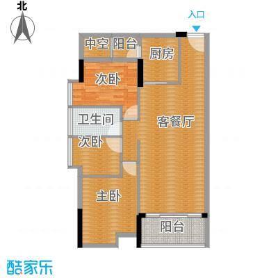 大步海滨花园三期95.63㎡3号楼标准层01单元01户型3室2厅1卫