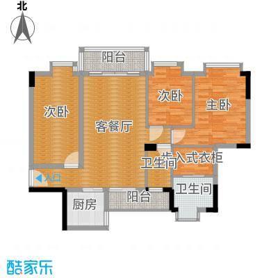 大步海滨花园三期118.07㎡3号楼标准层01单元04户型3室2厅2卫
