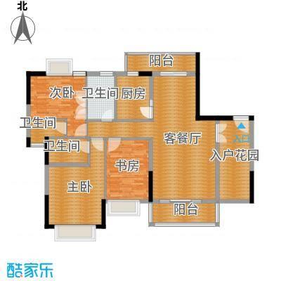 新世纪江畔湾128.89㎡A2户型3室1厅3卫1厨