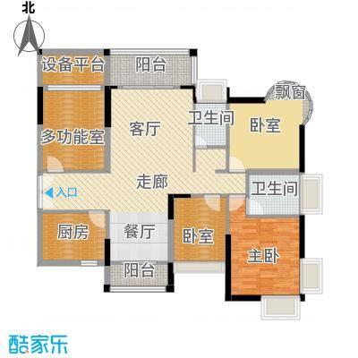 香缤雅苑117.39㎡1-4、10栋1单元户型1室2卫1厨