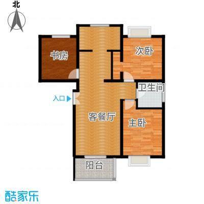 丽湾岛104.69㎡1/2号楼B户型2室2厅1卫