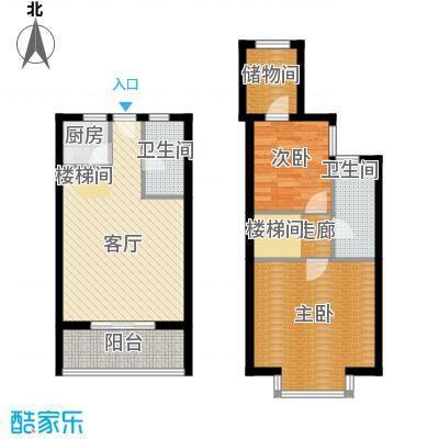 上上公馆46.33㎡清新阔景户型2室2厅2卫