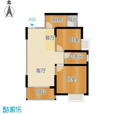 鼎正中央领郡81.00㎡X5、X7东单元东南户标准层2室户型2室2厅1卫