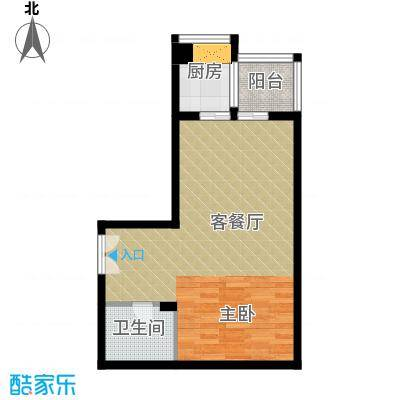 海�台北湾59.30㎡16#楼C户型1室1厅1卫