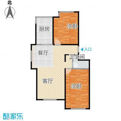 证大光明城90.00㎡三期1、3-7、9、11、16-18#楼2B4户型2室2厅1卫