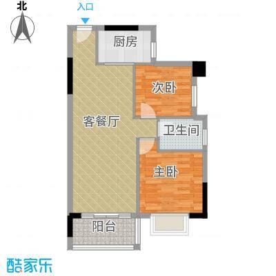 畔月湾广场63.33㎡B3户型2室1厅1卫1厨