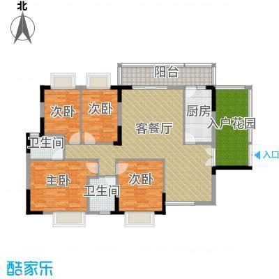 畔月湾广场132.85㎡E2户型4室1厅2卫1厨